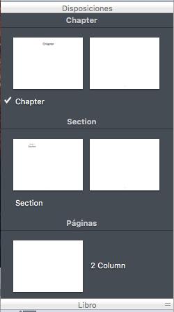 Disposiciones en iBooks Author