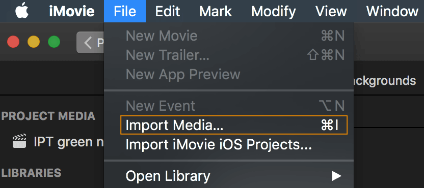 Import a video clip in iMovie