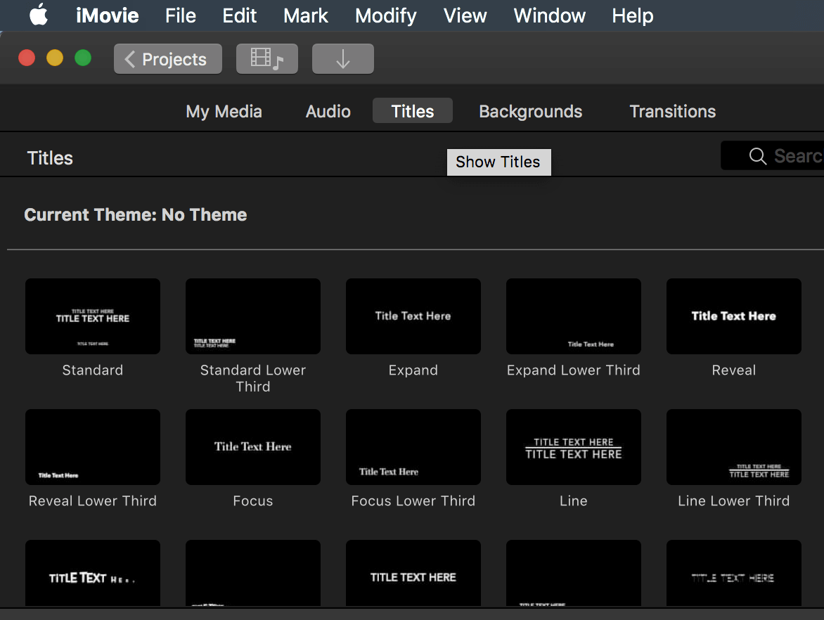 Adding Titles in iMovie