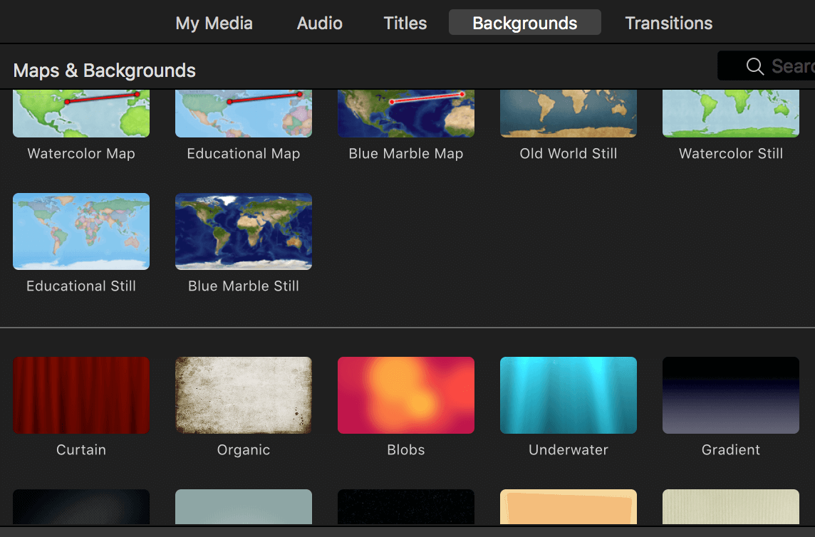 Backgrounds in iMovie