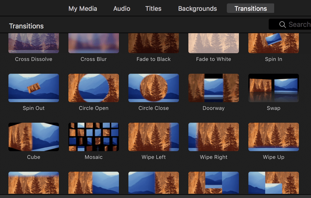 Transitions in iMovie