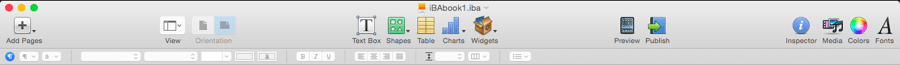 Upper iBooks Author Bar